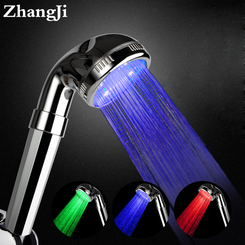 ZhangJi 3 renkli LED duş başlığı sıcaklık sensörü çok katmanlı elektrolizle PC paneli güçlü sprey banyo yağmurlama duş kafa