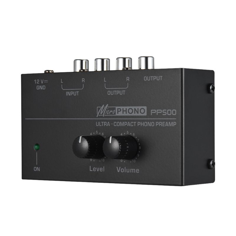 """Image 2 - PP500 Phono Preamp Preamplifier with Level Volume Controls RCA Input Output 1/4"""" TRS Output Interfaces for LP Vinyl TurntableAmplifier   -"""