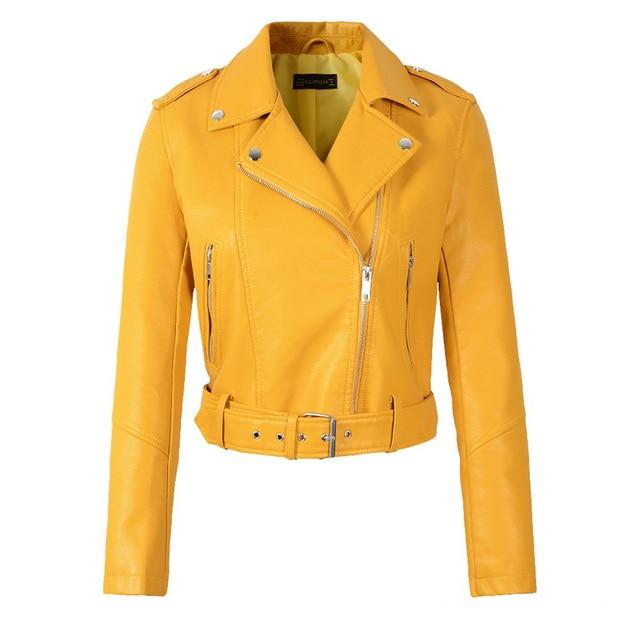 FTLZZ Women Faux Soft Leather Short Jacket Rivet Epaulet Zipper Pu Motorcycle Basic Jackets Female Red Black Outerwear With Belt 3