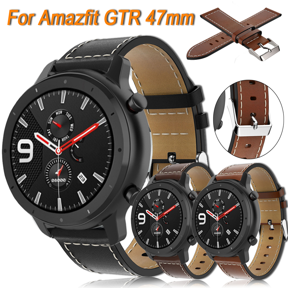 Genuine Leather Band For Xiaomi Huami Amazfit GTR 47mm Smart Watch Replacement Bracelet 22mm Watch Strap ремешок Amazfit Sport 3