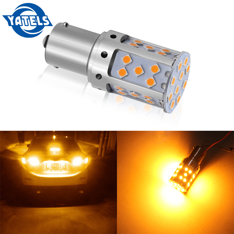 1 PCS 1156 LED No Hyper Flash Bulb PY21W BAU15S Car Turn Signal Light Canbus No Error Yellow/Amber 3030 35SMD 2100LM Rated