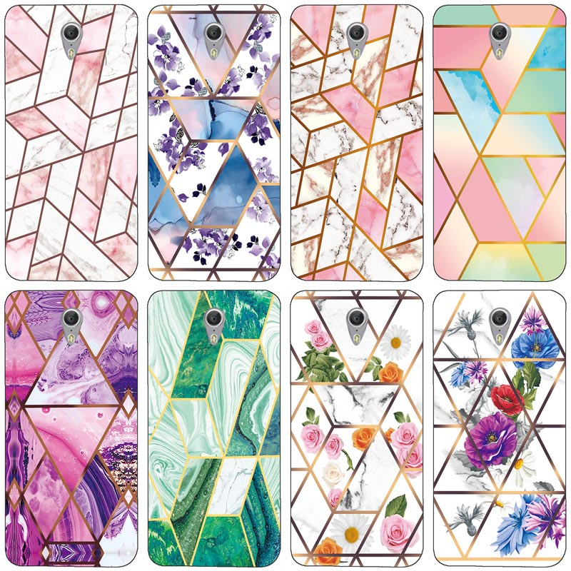Soft Phone Case for Lenovo ZUK Z1 Funda Glossy Colorful Flower Silicone Phone Back Cover Geometric Marble Shell