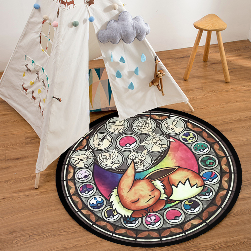 Image 5 - cartoon pokemon pattern round carpet prayer rug for living room 