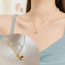 JIAN Fashion Heart Necklace for Women Simple Pearl Golden Choker Trendy Chain Collares Jewelry Ladies Birthday Gift jian natural green pendant necklace choker women fashion jewelry birthday gift for girlfriend vintage chain collares