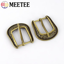 Meetee 2/5pcs 2cm Classical Pattern Pin Buckle Retro Bronze Belt Buckle Head DIY Strap Bag Pants Leathercrafts Decor Accessories stylish automatic buckle classical checked pattern coffee color belt for men