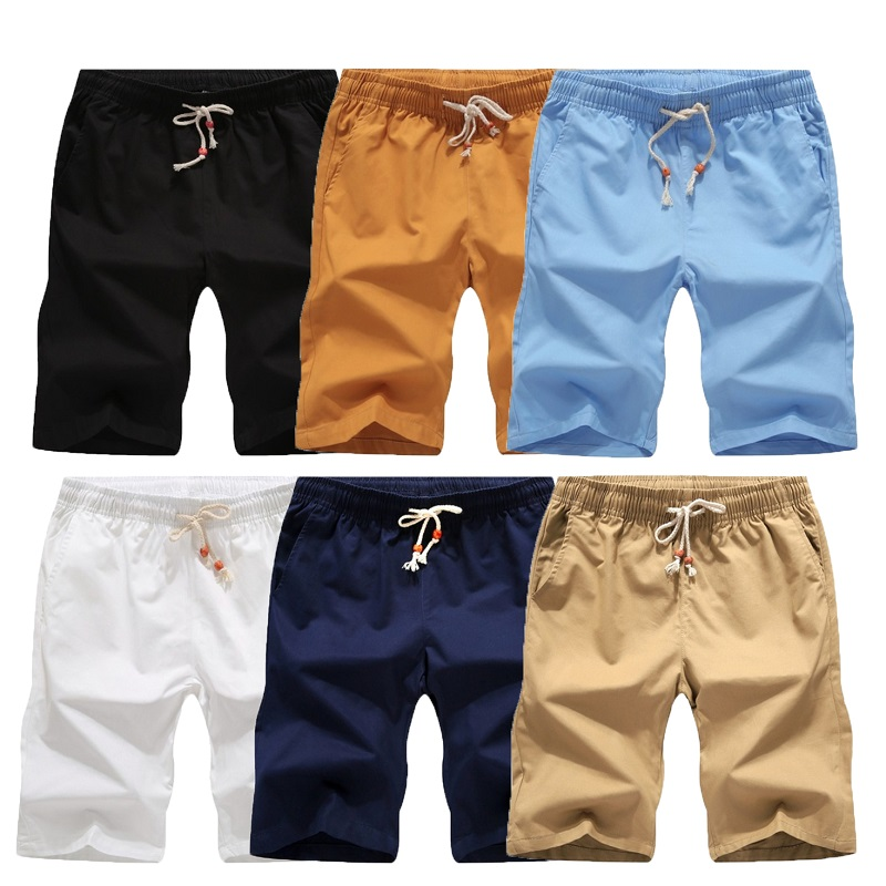 2020  Solid Color Men Shorts New Summer Fashion Mens Homme Shorts Cotton Casual Male Shorts Brand Cl Men Pack Sale Of 2 3 Pieces