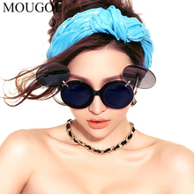 MOUGOL Ins Popular Lady Gaga Folding Steampunk Sunglasses Women Cute Round Party Glasses Men