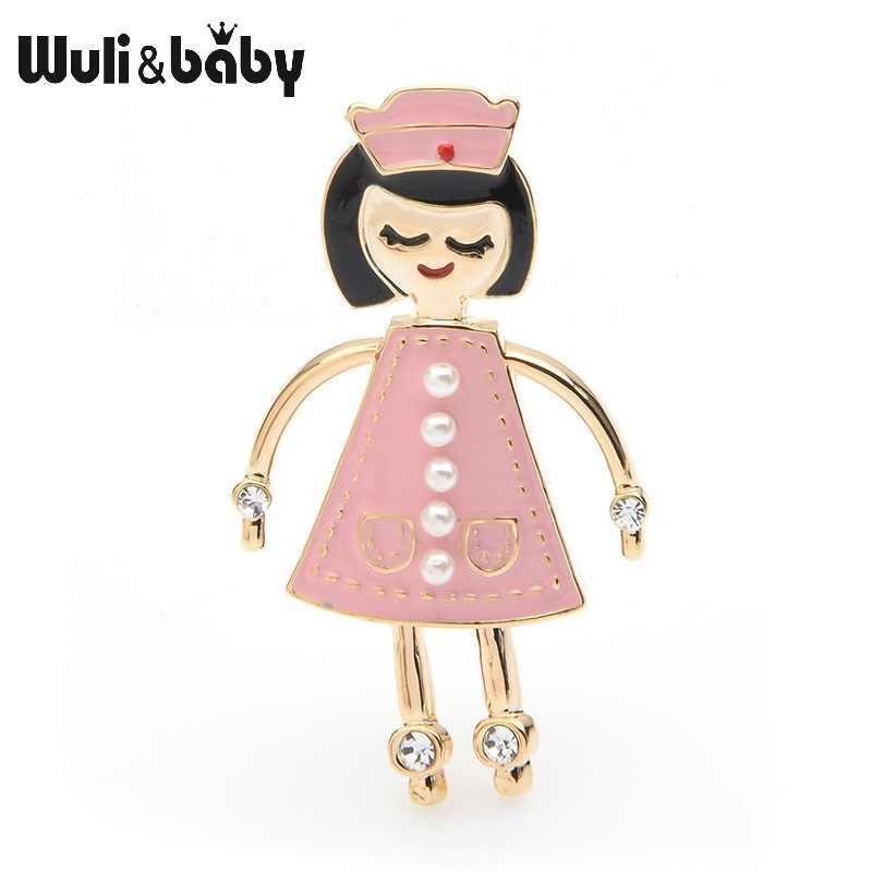Wuli & ベビーホワイトピンクナースブローチ女性合金エナメルドクター病院人格スタイルパーティーブローチピンギフト