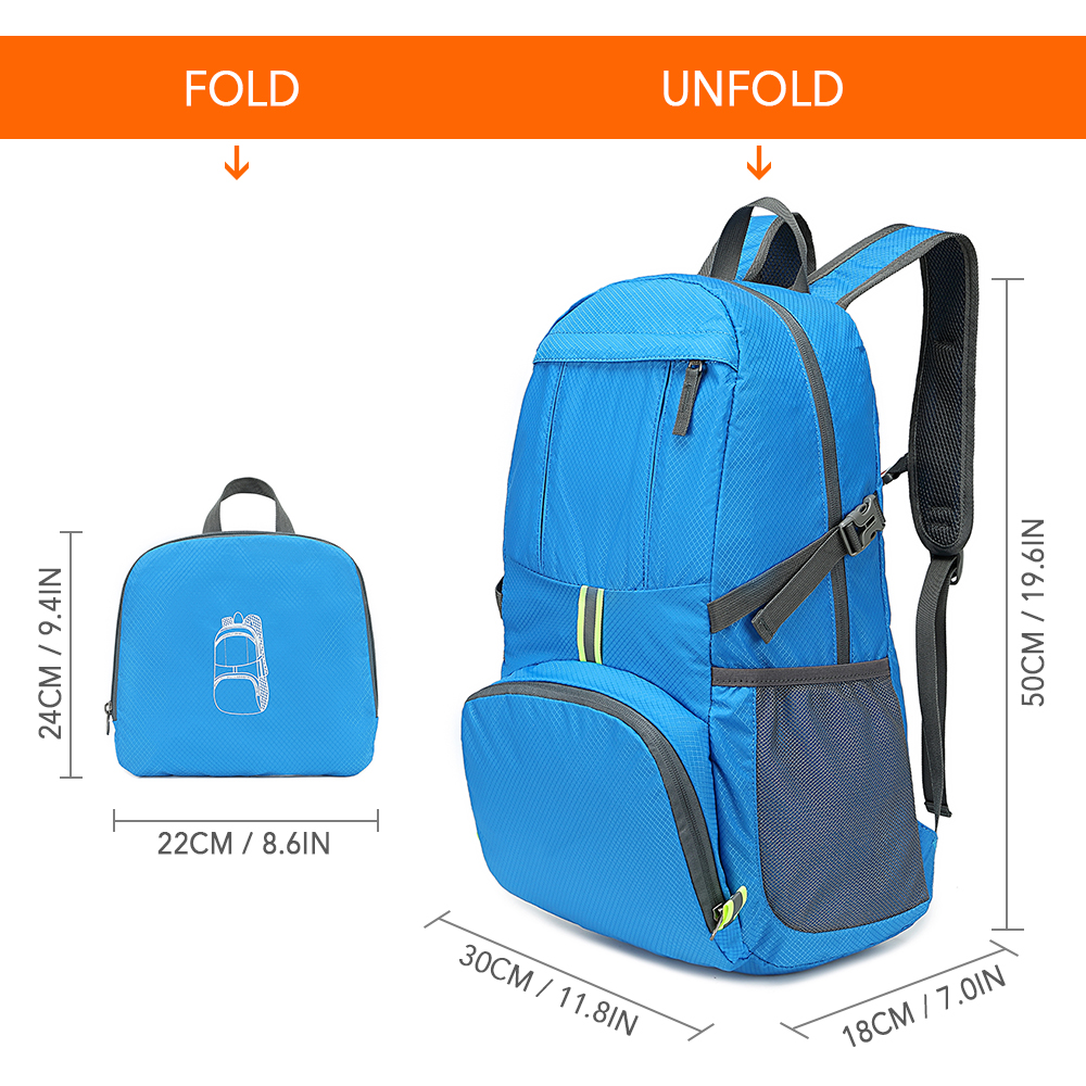 NEW Lightweight Foldable Mens Womens Backpack 35L Ultralight Outdoors Travel Bag