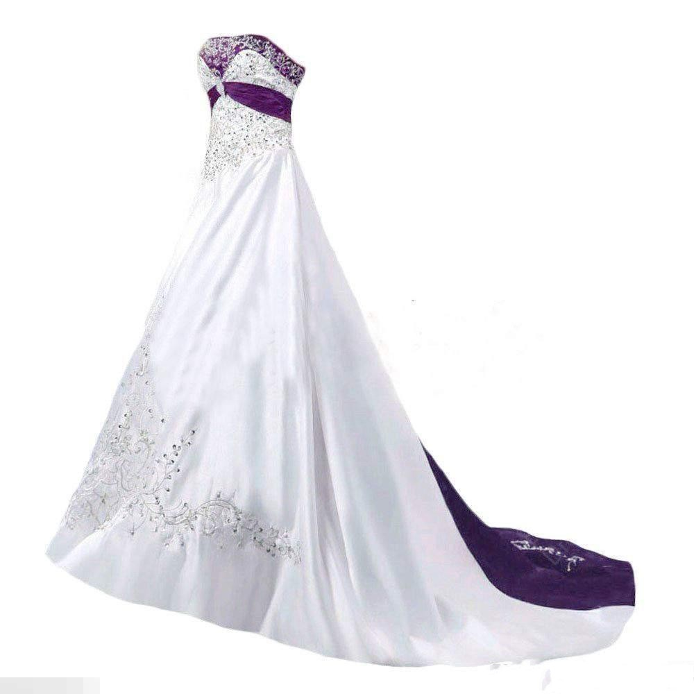 White And Purple A Line Elegant Wedding Dresses Embroidery Beads Chapel Train Bride Dress Custom Made Plus Size Wedding Gowns