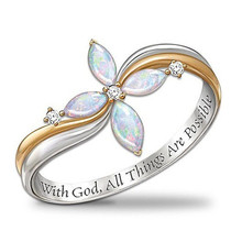"Silver Colors Gold Filled ""With God,All Things Are Possible"" Cross Crysatl Rings for Bride Wedding Band Rings for Women Jewelry"