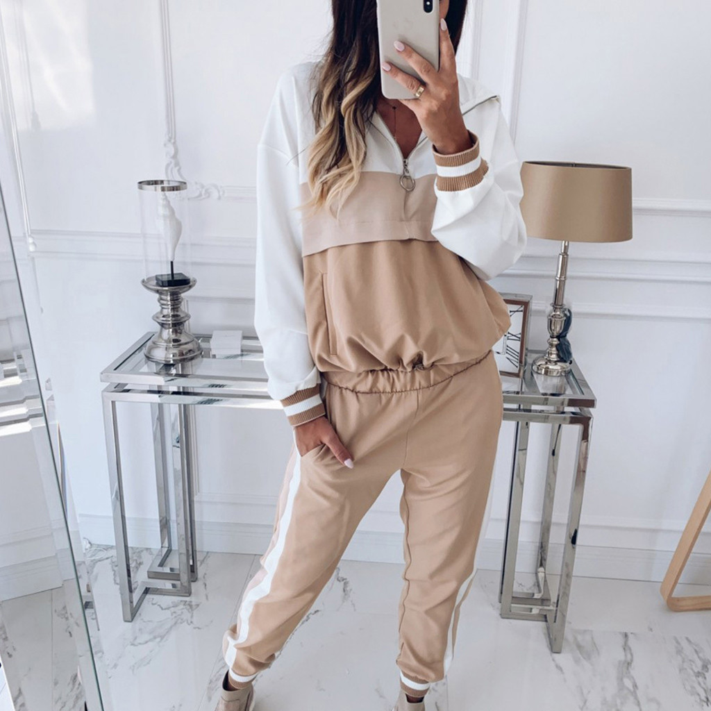 2 Piece fashion Casual suits Women Tracksuit Sweatshirt Pants Sets Sport Long Sleeve Wear Casual women Sweatshirt + trousers #GH