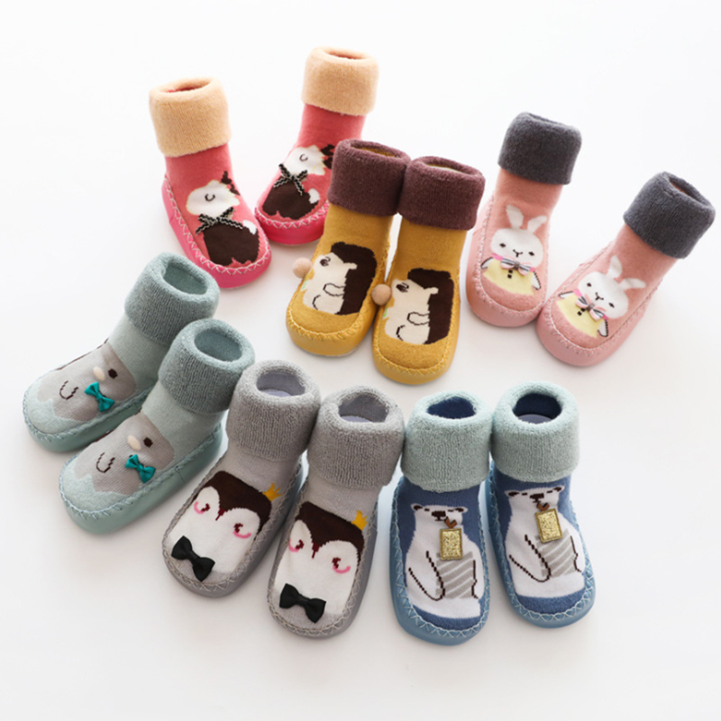 Baby Socks With Rubber Soles For Slipper Toddler Indoor Sock Shoes Anti Slip Warm Winter Socks Baby Home Slippers Socks Sole