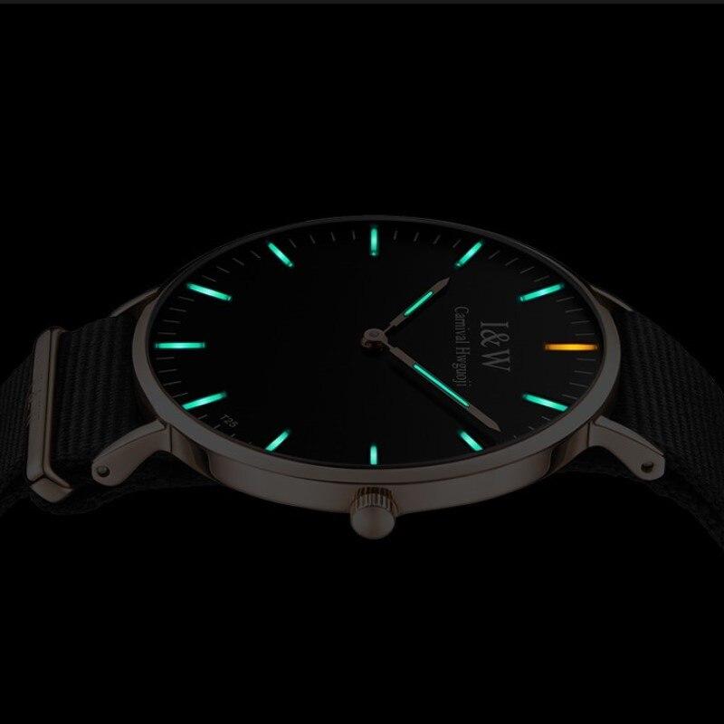 T25 Tritium Light Watch Men CARNIVAL Fashion Ultrathin Quartz Watch Import Movement Sapphire Waterproof Nylon Strap Reloj Hombre