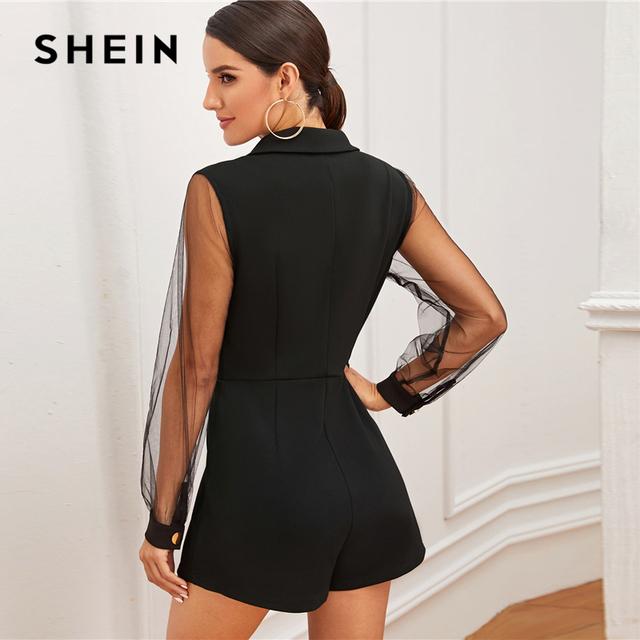 Black Notch Collar Mesh Sleeve Button Wrap Trim Skirt Romper Women High Waist Solid