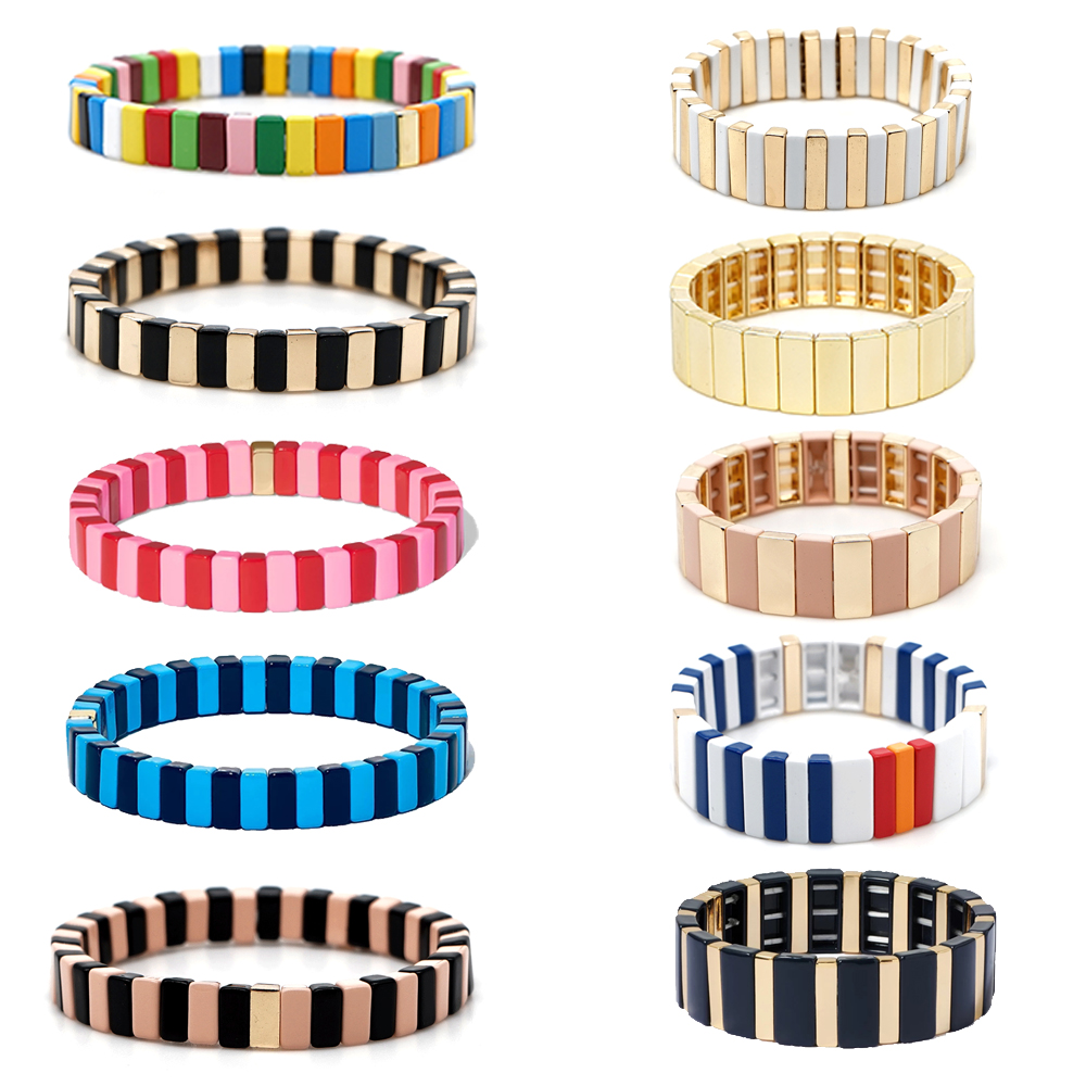 KELITCH Rainbow Beaded Enamel Bracelets for Women Tile Stackable Stretch Bracelets Handmade Friendship Strand Cuff Bangles Gift(China)