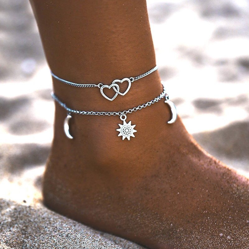 Vintage Silver Color Heart Rate Handcuffs Anklets for Women 2020 Pearl Elephant Ankle Bracelet On Leg Summer Beach Foot Jewelry