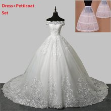 women's bridal wedding dress off shoulder ball gown wedding gown plus size white ivory lace up marriage wedding gown petticoat