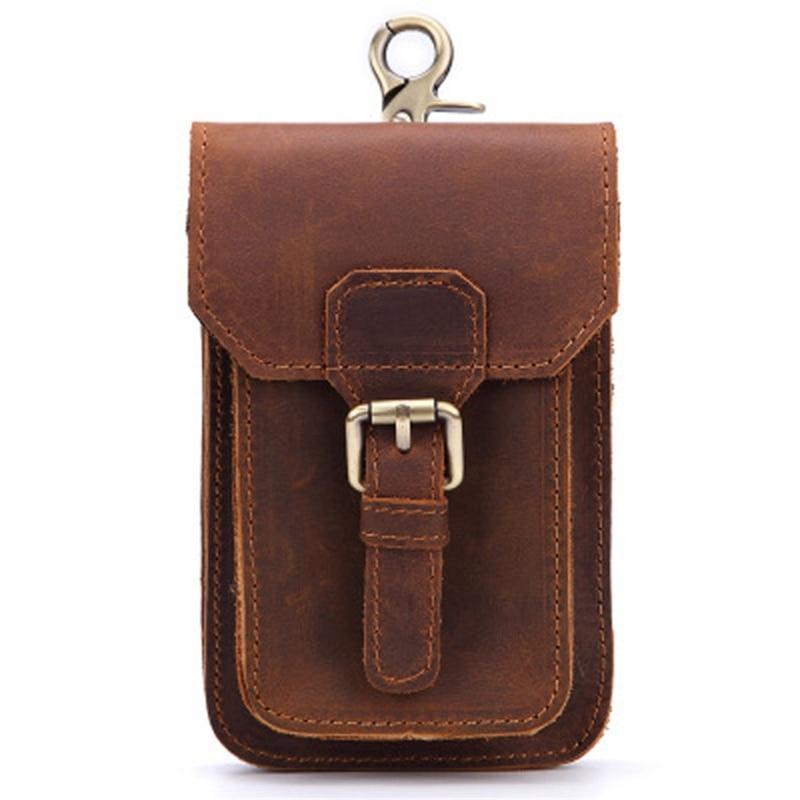 Genuine Leather Vintage Waist Packs Men Travel Fanny Pack Belt Loops Hip Bum Bag Waist Bag Mobile Phone Pouch