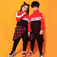 Kids Hip Hop Sweatshirt pants Festival dancing Clothing Girls Boys Jazz Dance Co