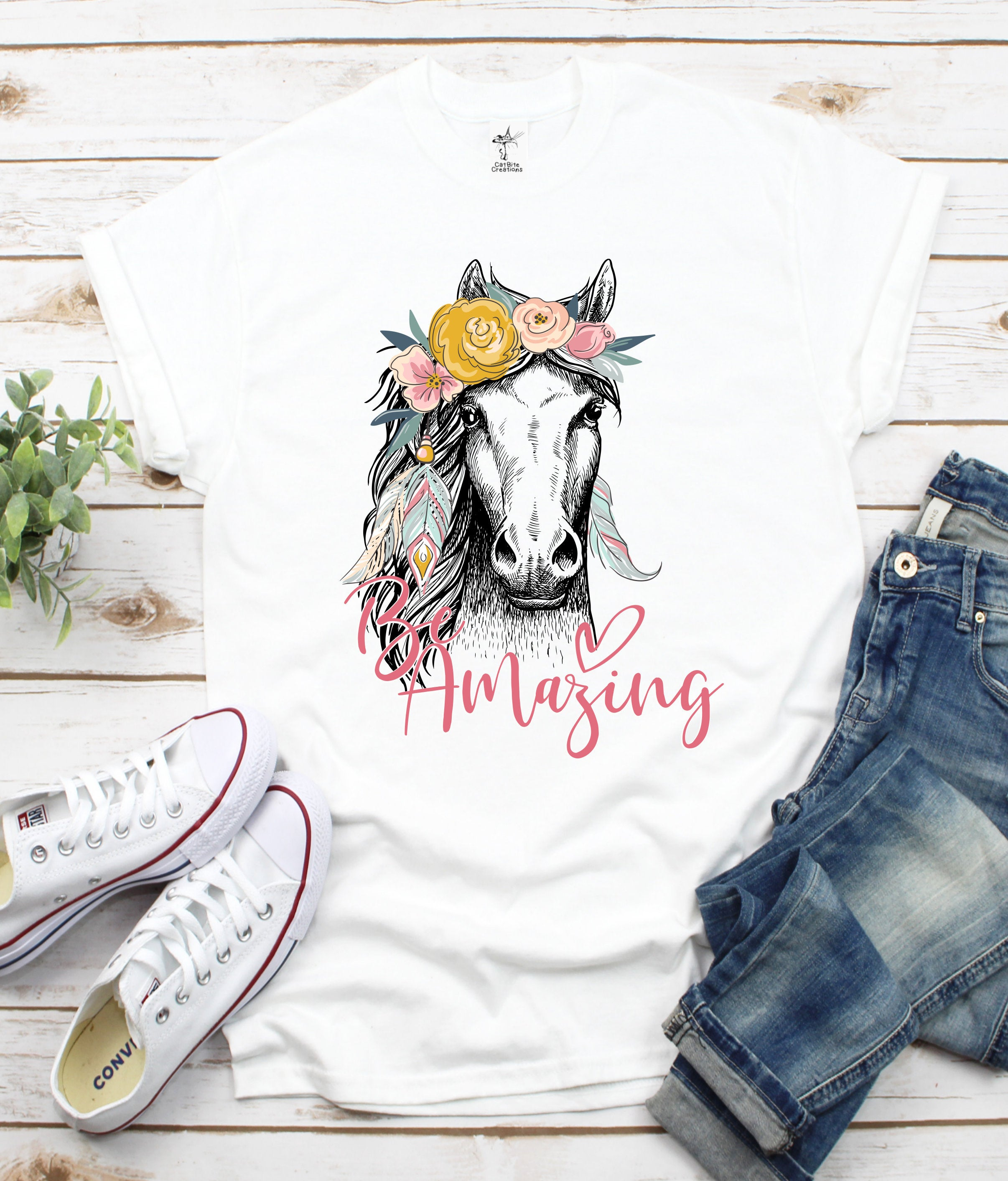 Be Amazing Horse Print Women Tshirt Cotton Casual Funny T Shirt Gift For Lady Yong Girl Top Tee PM-94