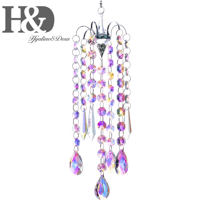 H&D Hanging Crystal Sun Catcher Rainbow Maker Window Chandelier Prisms Beads Chakra 38mm Charm Suncatcher Garden Home Decoration
