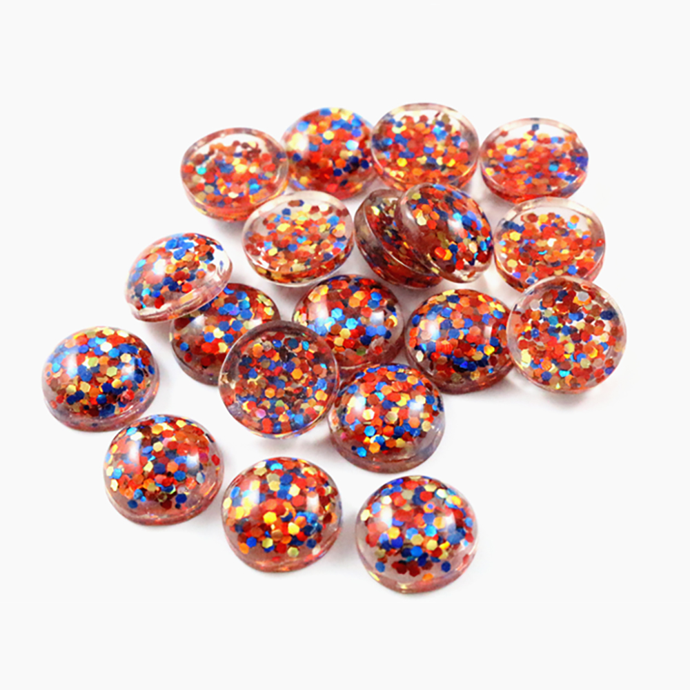 40pcs 12mm New Fashion Blue And Orange And Gold Color Mix Color Flat Back Resin Cabochons Cameo  G3-32