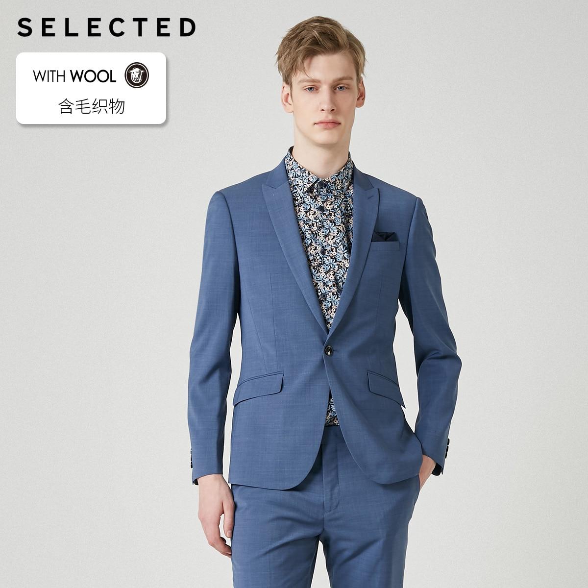 SELECTED Men's Slim-Fit Woolen Blazer Pure Color Closure Collar Jacket Clothes T | 41925Y503