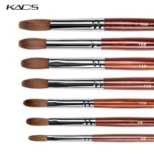 Kads Kolinsky – brosse à ongles acrylique pour poudre de manucure, outil professionnel avec manche rond en bois rouge