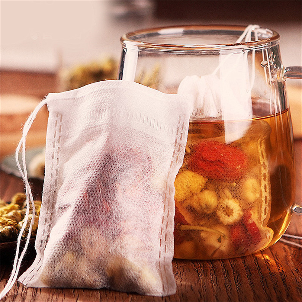 100Pcs/lot 5*7 10*15cm Disposable Tea Bags Empty Scented Tea Bag With String Heal Seal Filter Paper Bags For Green Tea