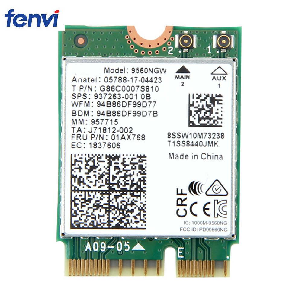 Banda dupla 1.73 gbps sem fio para intel ac 9560 9560ngw ngff chave e wifi cartão 9560ac 8020.11ac bluetooth 5.0 portátil para windows 10