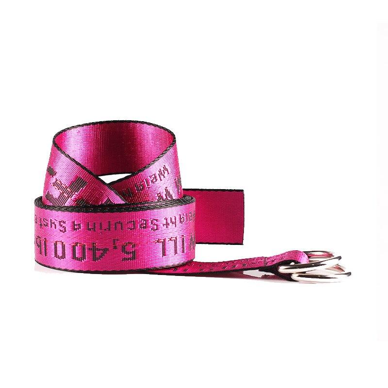 TagerWilen ремень стиль буквы напечатаны мода унисекс двойное D Кольцо холст ремень длинные джинсы ремни для женщин брезентовый мужской ремень - Цвет: Off-Rose