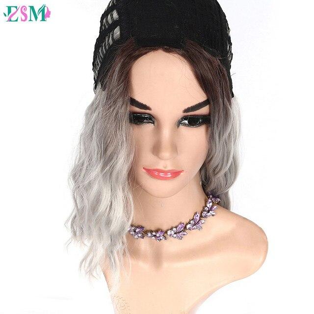 Perruques synthétiques courtes ondulées ombré | Perruque noire et grise pour femmes, perruque afro-américaine en Fiber résistante à la chaleur