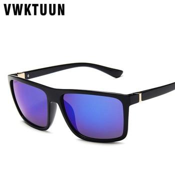 VWKTUUN Mirror Sunglasses Men Vintage Glasses Driving Driver Sunglass UV400 Rectangle Sun glasses For Men Oversized Eyewear