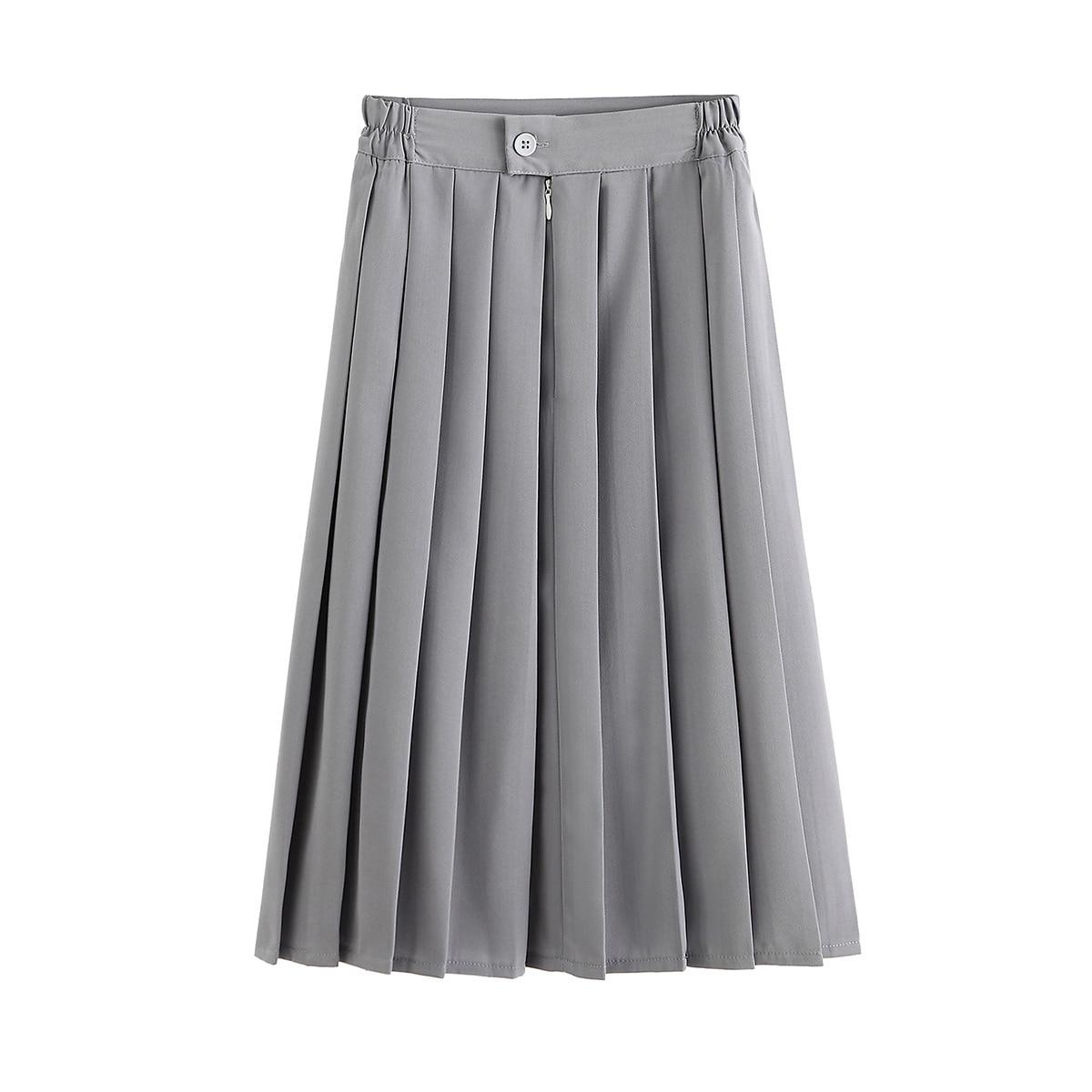 2020 New 5XL High Waist A-Linen Women Pleated Skirt Saia Stretch Waist Plus Size Women Midi Skirt Faldas Jupe Femme