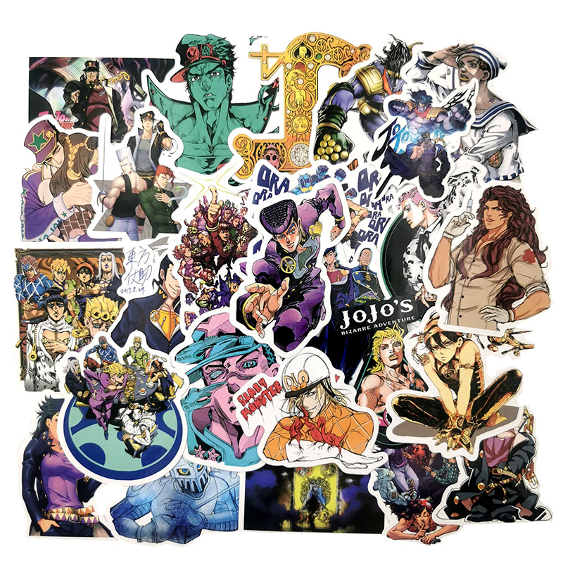 JoJos Bizarre Adventure JoJos Bizarre Adventure Anime Cartoon Laptop Stickers Waterproof Skateboard Car Snowboard Bicycle Luggage Decal 50pcs