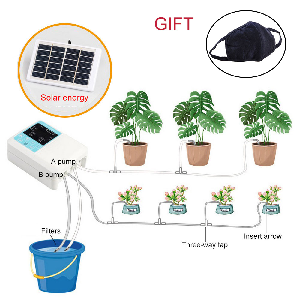 Newest Intelligent Garden Automatic Watering Device Solar Energy Charging  Water Pump Timer System Potted Plant Drip Irrigation