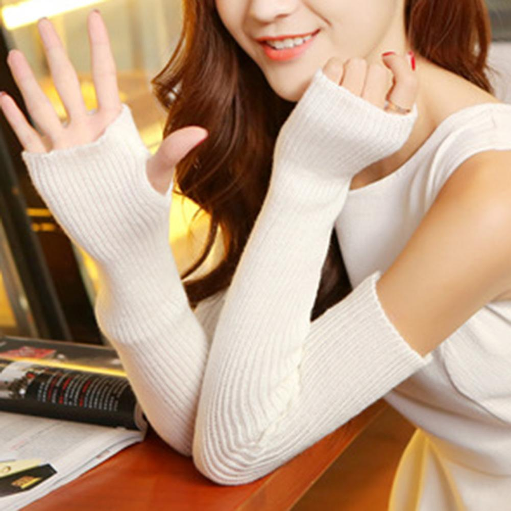 1 Pair Autumn Winter Women Knit Gloves Arm Wrist Sleeve Warmer Knitted Long Gloves Warm Elbow Mittens Cover