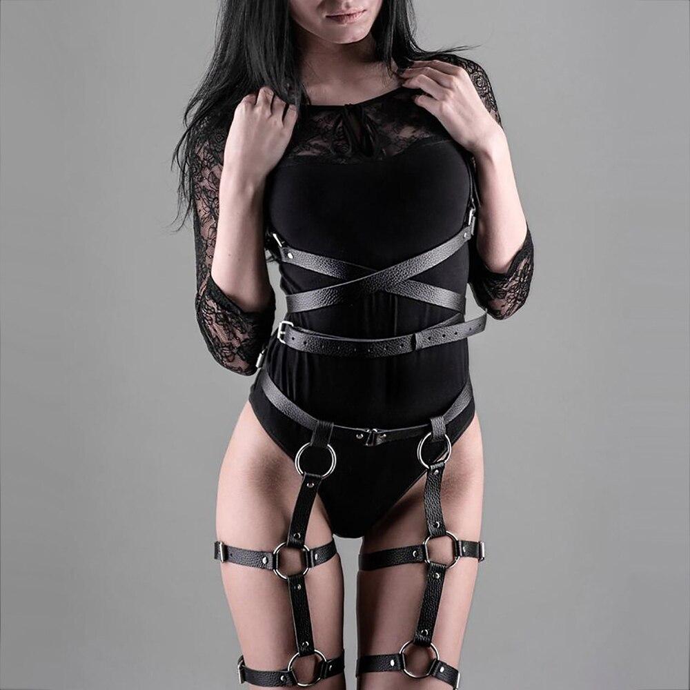 Adjustable Sexy Belt 2 Piece Set Sexy Body Cage Belts Lingerie Erotic Sets Leather Harness Underwear Bdsm Bondage Sex Toys Women