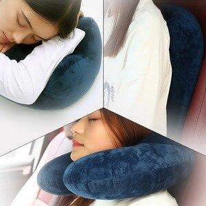 Image 3 - Junejour cuscini gonfiabili a forma di U poggiatesta da viaggio Memory Foam pieghevole cuscino aereo a rimbalzo lento