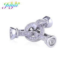 Juya Handmade Baroque Jewelry Material Silver Color Fastener Hook Clasp Accessories For Women Beadwork Pearl Bead Jewelry Making