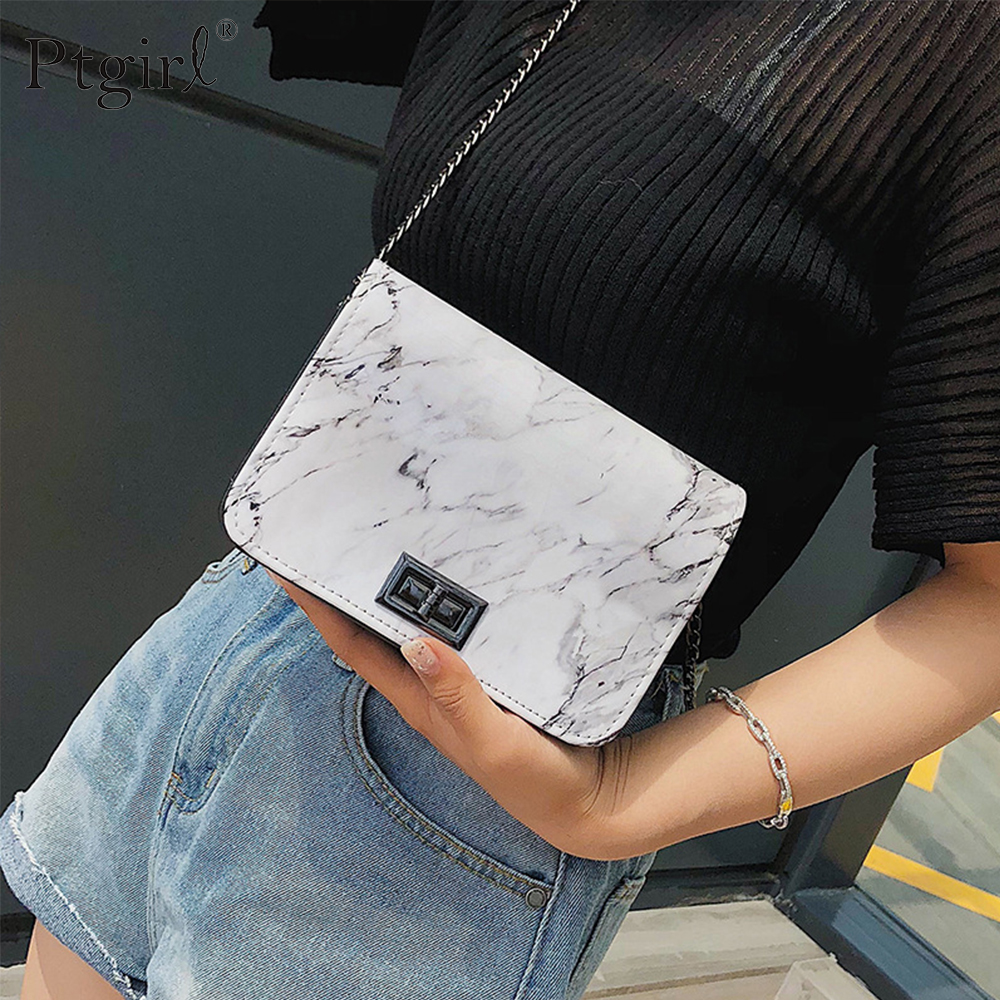 Bags For Women 2019 Marble Pattern Shoulder Bag Lock Buckle Wild Messenger Ptgirl Small Square Marble White Bag Designer Handbag