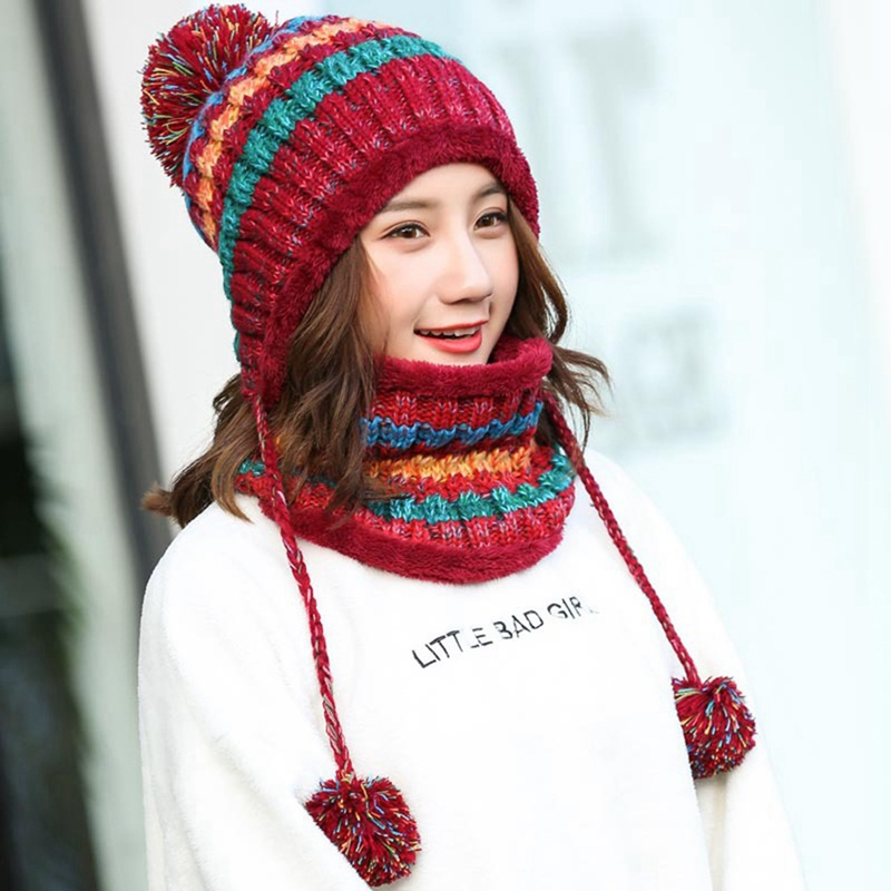 Women Knitted Hat Scarf Set Winter Warm Thicken Crochet Bobble Pom Pom Beanie Hat Cap Outdoor Ski Snowboard Cycle