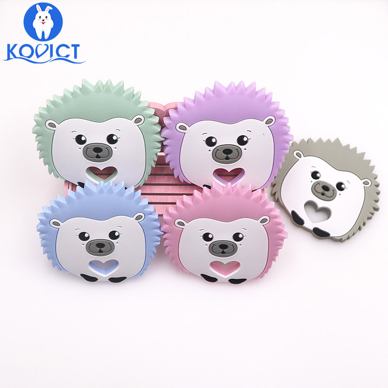Kovict Hedgehog Baby Silicone Teether Food Free BPA Silicone Teething Beads Nursing Pacifier Clip Rodent Baby Product