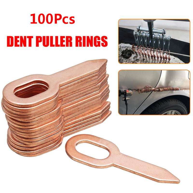 100Pcs/Set Copper Plated Oval Dent Puller Rings Car Body Paintless Dent Lifter Repair Tool Puller Kit Dent Removal Washer Tool