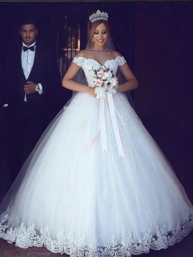 Wedding-Dress Bridal-Gowns Tulle Lace See-Through Appliques A-Line Sweetheart-Off Elegant