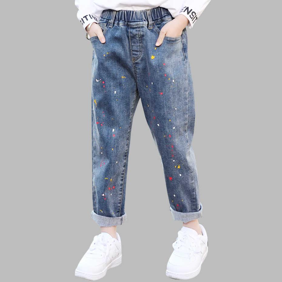 Çocuklar kot kız boyama baskı kızlar kot elastik bel kot kızlar için bahar sonbahar günlük kıyafetler kızlar için 6 8 10 12 14