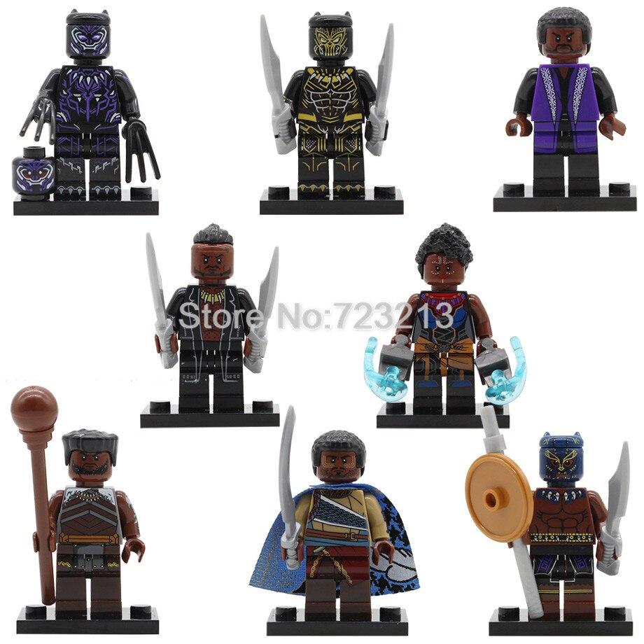 Black Panther Marvel Super Hero M'baku Shuri Erik Killmonger W'kabi Movie Building Blocks Kits Toys For Children Legoing
