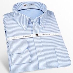 Image 5 - Męska bawełniana koszula z długimi rękawami, Oxford, sukienka w kratę, przednia kieszeń, wysokiej jakości, eleganckie, codzienne, dopasowane koszule z guzikami