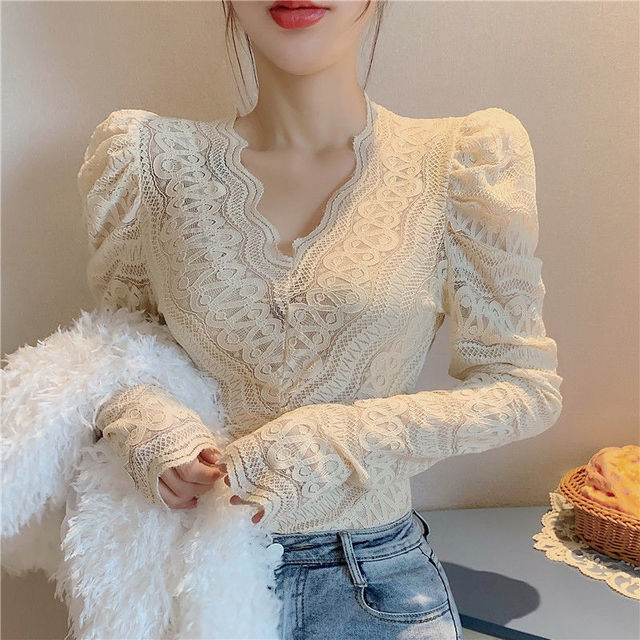 Blouses Women Elegant V Neck Slim Hollow Out Lace Blouses Autumn All-match Vintage Full Puff Sleeve Elastic Shirts Tops 1